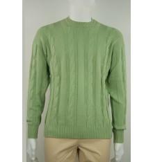 Maglione girocollo cotone con trecce