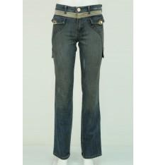 Jeans due tasche con inserti tessuto