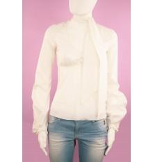 Camicia bianca manica lunga collo con fiocco