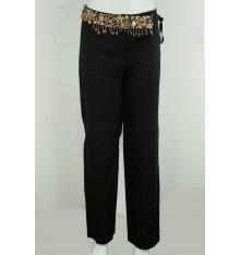 Pantaloni in lino senza tasche e cintura con ciondoli
