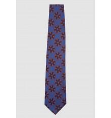 Cravatta seta blu con  fiori marroni