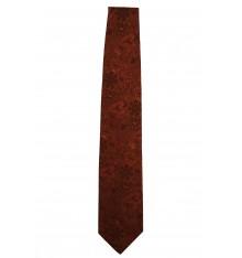 Cravatta seta classica fiori contorno arancio