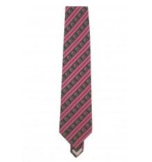 Cravatta seta classica righe e fiori trasversali
