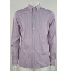 Camicia button down  basico viola righe bianche