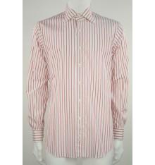 Camicia collo normale bianca riga rossa