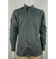 Camicia confort  invernale button down grigia righe
