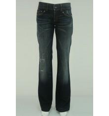 Jeans scuri stappati marchio dietro cinque tasche